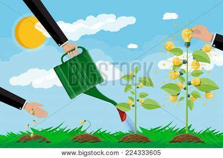 Businessman hand watering tree with can. Glowing light bulb hanging with green leaves. Idea tree. Concept of creative idea or inspiration. Glass bulb with spiral. Vector illustration in flat style