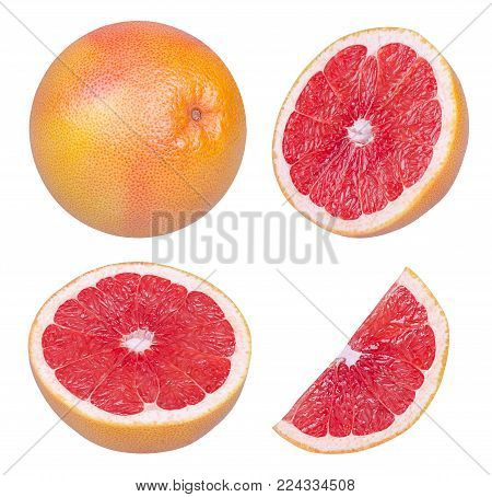 Isolated grapefruits. Collection of whole grapefruit and slices isolated on white background with clipping path