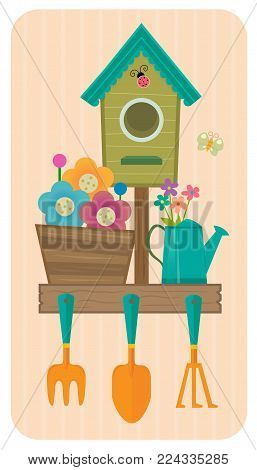 Clip-art of a birdhouse, flowers and gardening tools. Eps10