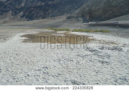 Bad Water Basin. The Lowest Place Below The Sea Level. Gigantic Salt Lagoons. Travel holydays Geology. June 28, 2018. Death Valley California. EEUU. USA.
