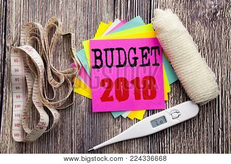 Handwriting Announcement text Budget 2018. Business fitness health concept for Household budgeting accounting planning written on wood wooden background with bandage and thermometer