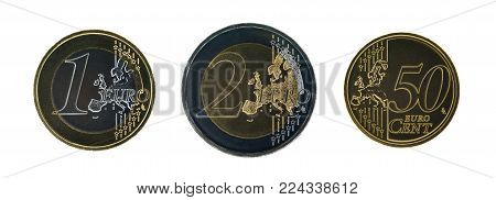 Set of euro coins, dark version. isolated on white background