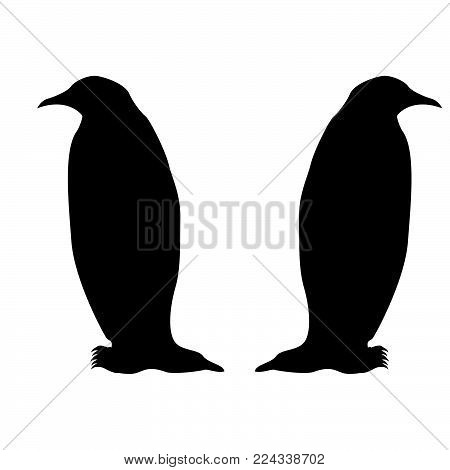 Penguin icon Black color fill Flat style Simple illustration
