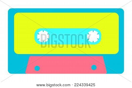 Blue, yellow, pink, antique, old, vintage, retro, hipster, musical audio cassette from the 80's, 90's on a white background. Vector illustration.