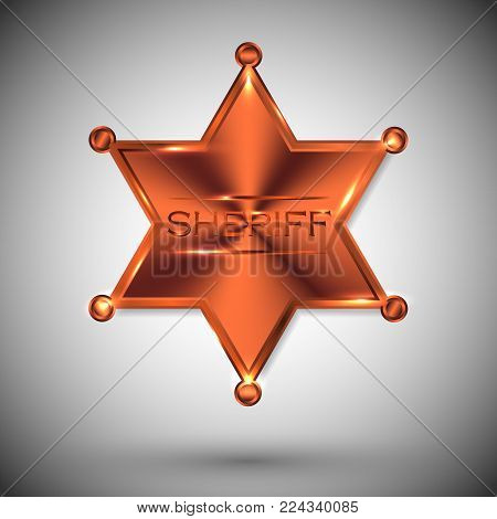 vector metal sheriff star isolated on white background. vector six-pointed star.