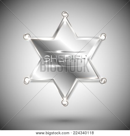 vector silver sheriff star isolated on white background. vector six-pointed star.