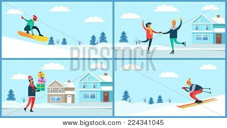 Wintertime activities placards set, snowboarder and skier, figure-skating young people, man carrying presents, isolated on vector illustration