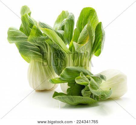 Bok choy (Pak choi) three cabbages isolated on white background fresh