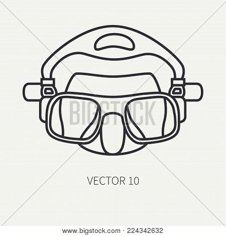 Line flat plain vector diver underwater equipment icon diver mask. Retro style. Ocean deep, sea beach. Snorkeling. Summer adventure vacation. Scuba aqualung. Illustration element for design, wallpaper
