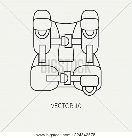 Line flat plain vector diver underwater equipment icon oxygen balloon jacket. Retro style. Ocean deep, sea beach. Summer adventure vacation. Scuba aqualung. Illustration, element for design, wallpaper