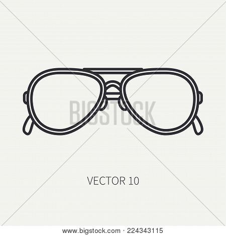 Line flat plain vector vintage fashion sunglasses icon. Retro style. Ocean sun, sea beach. Elegance accessory. Summer adventure vacation. Reflection lens. Illustration, element for design, wallpaper