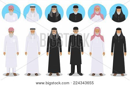 Social and family concept. Detailed illustration of different standing arab old men in the traditional national muslim arabic clothing isolated on white background in flat style. Differences islamic saudi arabic ethnic persons smiling faces in traditional