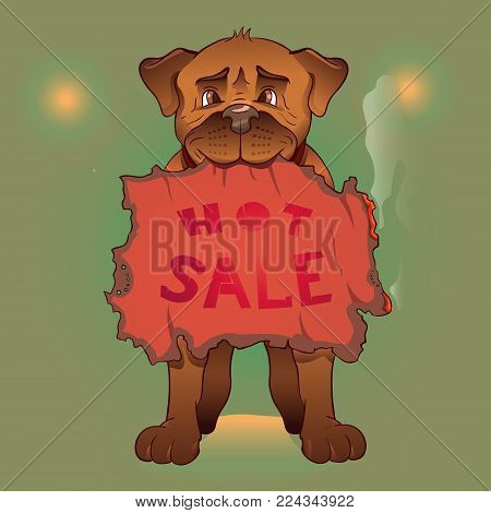 Vector illustration of a dog with a hot sale posters