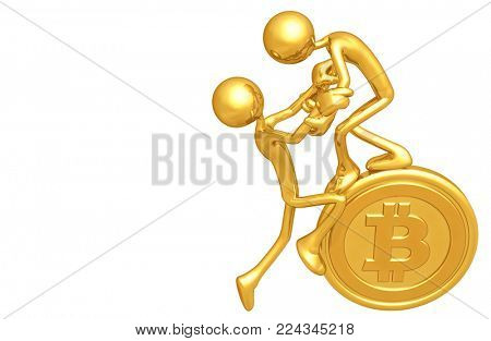 The Original 3D Characters Illustration With A Bitcoin