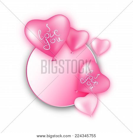 Bundle balloons form hearts bow isolated. A bundle of pink and white balloons with a bow isolated on white background. Bunch of balls in the form of a vector illustration