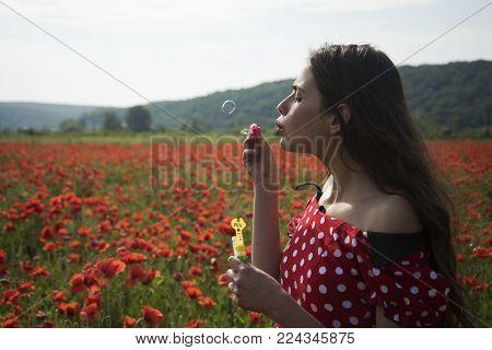 Summer, Spring, Poppy Flower. Opium Poppy, Youth, Freshness, Ecology, Woman. Drug, Opium, Narcotics,