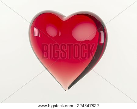3D rendering. Glass red heart. Isolated on a white background. Illustration of Valentine's day. Heart for a loved one. Decoration and installation for your design.