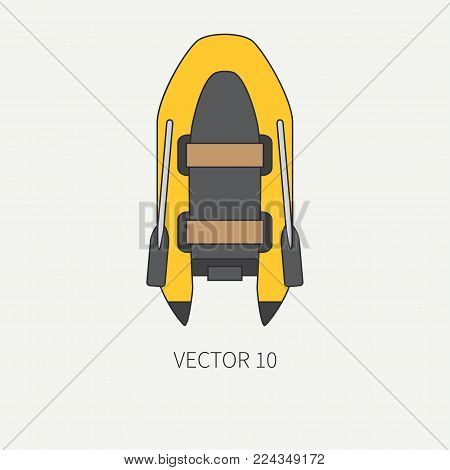Line flat plain vector underwater diver equipment icon rubber boat. Retro style. Ocean, sea beach. Snorkeling. Summer adventure vacation. Scuba aqualung. Illustration, element for design, wallpaper
