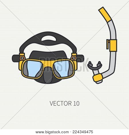 Line flat color vector diver underwater equipment icon diver mask and snorkel. Retro style. Ocean deep, sea beach. Summer adventure vacation. Scuba aqualung. Illustration element for design, wallpaper