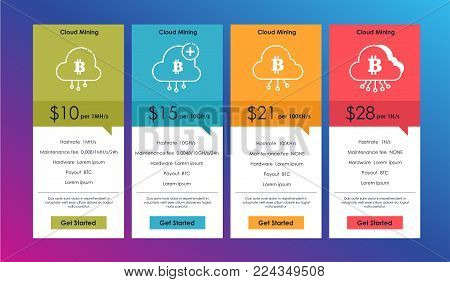 Set of offer tariffs for for cryptocurrency mining. ui ux vector banner for web app. set of pricing table, order, box, button, list with plan for website in flat design.