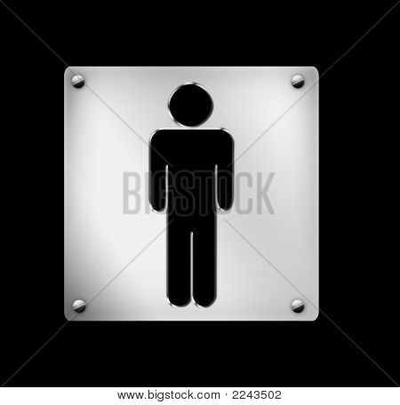 Male, Lavatory Sign, Board
