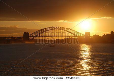 Sydney Harbor Bridge Gold Sunset