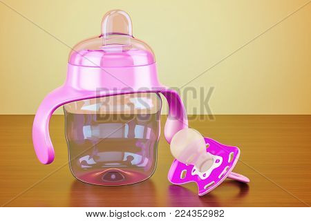 Pink pacifier and non-spill cup on the wooden table, 3D rendering