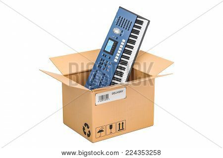 Synthesizer inside parcel, delivery concept. 3D rendering isolated on white background