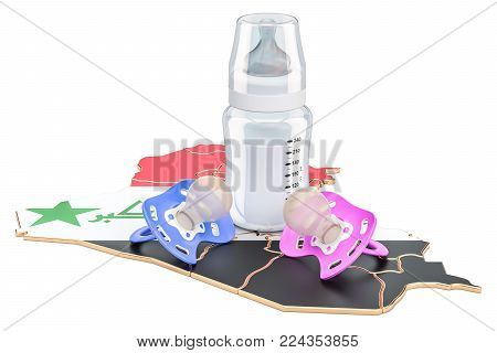 Birthrate and adoption in Iraq concept, 3D rendering isolated on white background