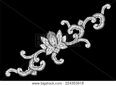National Korean oriental embroidery imitation ornament. Lotus flower curl decoration fashion style design template. Ethnic asian vector illustration art