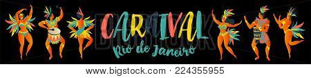 Brazilian samba dancers Rio de Janeiro. Vector carnival girls and man dancing.