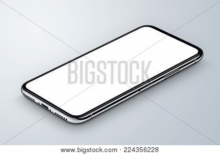 Perspective view isometric white smartphone like iPhone X mockup lies on gray surface. 3D illustration.