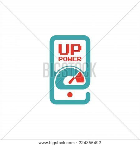 Vector speed test smartphone icon. Power indicator icon. Apload speed icon on mobile phone screen. Red and blue speedometr on cellphone touchscreen.