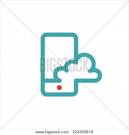 Smartphone cloud computing icon vector illustration. Rad and blue cloud icon on mobile phone screen. Mobile pictogram and cloud symbol . Cloud icon isolated on white background.