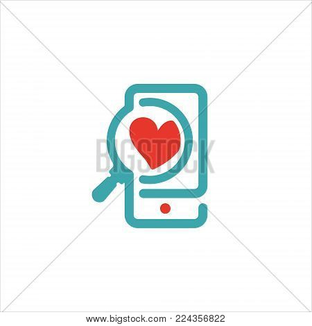 Concept of love and loupe glass on smartphone vector icon. Red heart symbol on smartphone touchscreen. Like icon and loupe glass. Zoomed heart sign on phone screen.