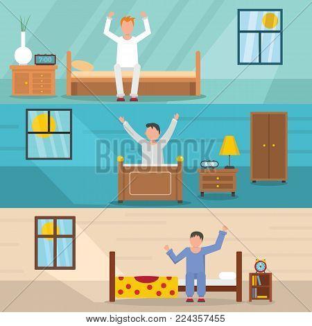 Wake up happy sleep banner horizontal concept set. Flat illustration of 3 wake up happy sleep vector banner horizontal concepts for web