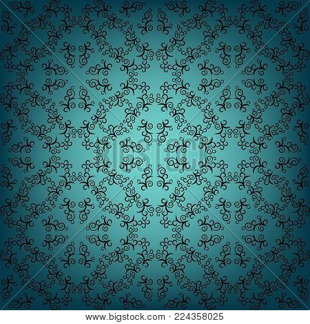 Retro seamless pattern. Eastern style. Blue shades.