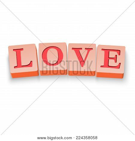 Blocks with the Red color word love. Stock Vector