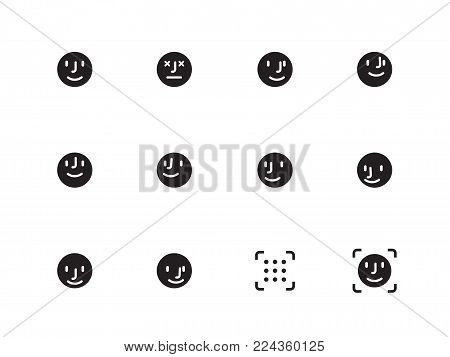 Face Detecting vector icons on white background. Vector illustration.