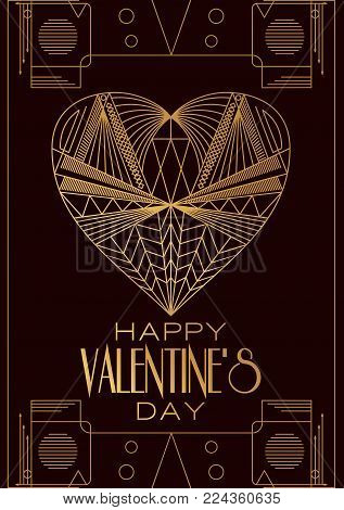Modern card  Valentines Day.Vector image in classic art deco retro style. Can be used for web design, printed products, posters and greeting cards.