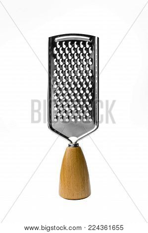 Handmade Metal Grater With A Wooden Handle On A White Background. Isolated Object