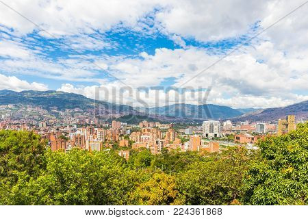 Medellin City panoramic view in the afternoon Colombia
