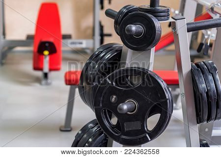Crossfit equipment. Dumbbell and barbell weight plates on plate holder. Rack with weghts or plate tree. Modern gym