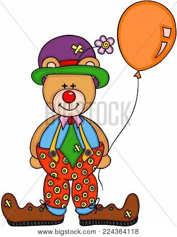 Scalable vectorial representing a eddy bear clown, illustration isolated on white background.