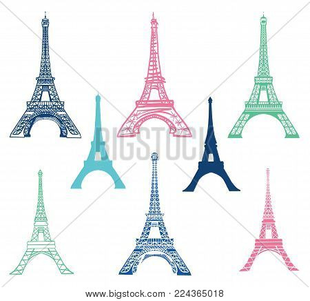 Vector set of different Eiffel Tower landmarks icons of Paris, France with Silhouettes. Landmark and structure infographic elemements. Travel symbols.