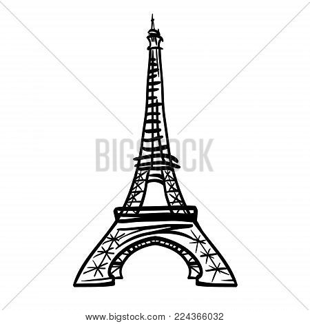 Vector black Eifel Tower hand drawn landmark symbol of Paris, France. Great for french invitations, greeting cards, postcards, gifts. Drawing element. poster