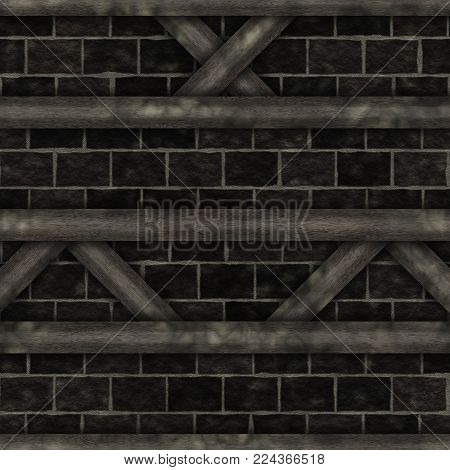 File high quality. Wall abstract- wooden frame chalet construction elements, struts, stone. Decoration facade- panels of various shapes. Nature background- plaster filling. Art architecture.