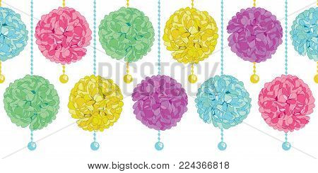 Vector Cute Set of Hanging Pastel Colorful Birthday Party Paper Pom Poms and Beads Horizontal Seamless Repeat Border Pattern. Great for handmade cards, invitations, wallpaper, packaging, nursery designs. Party decor.