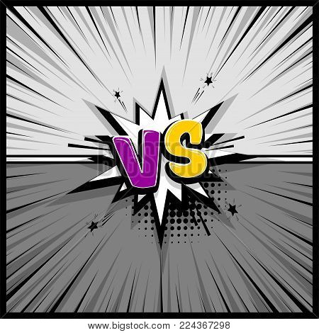 Pop art monochrome manga backdrop mockup. Vector illustration halftone dot. Fight  boom explosion. Speech bubble box balloon. Versus comic text. Comics book empty colored template background.