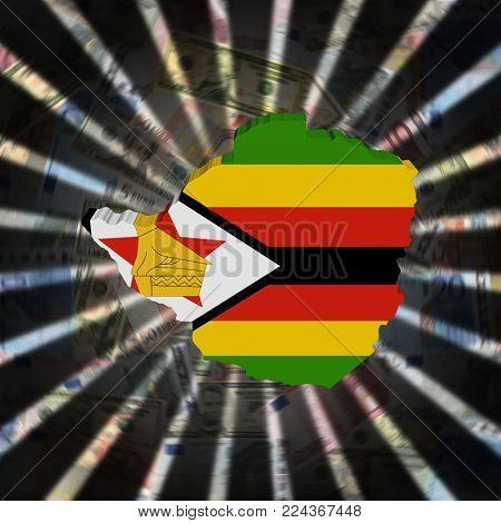 Zimbabwe map flag on currency burst 3d illustration